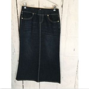 Long denim skirt modest dark wash NWT 